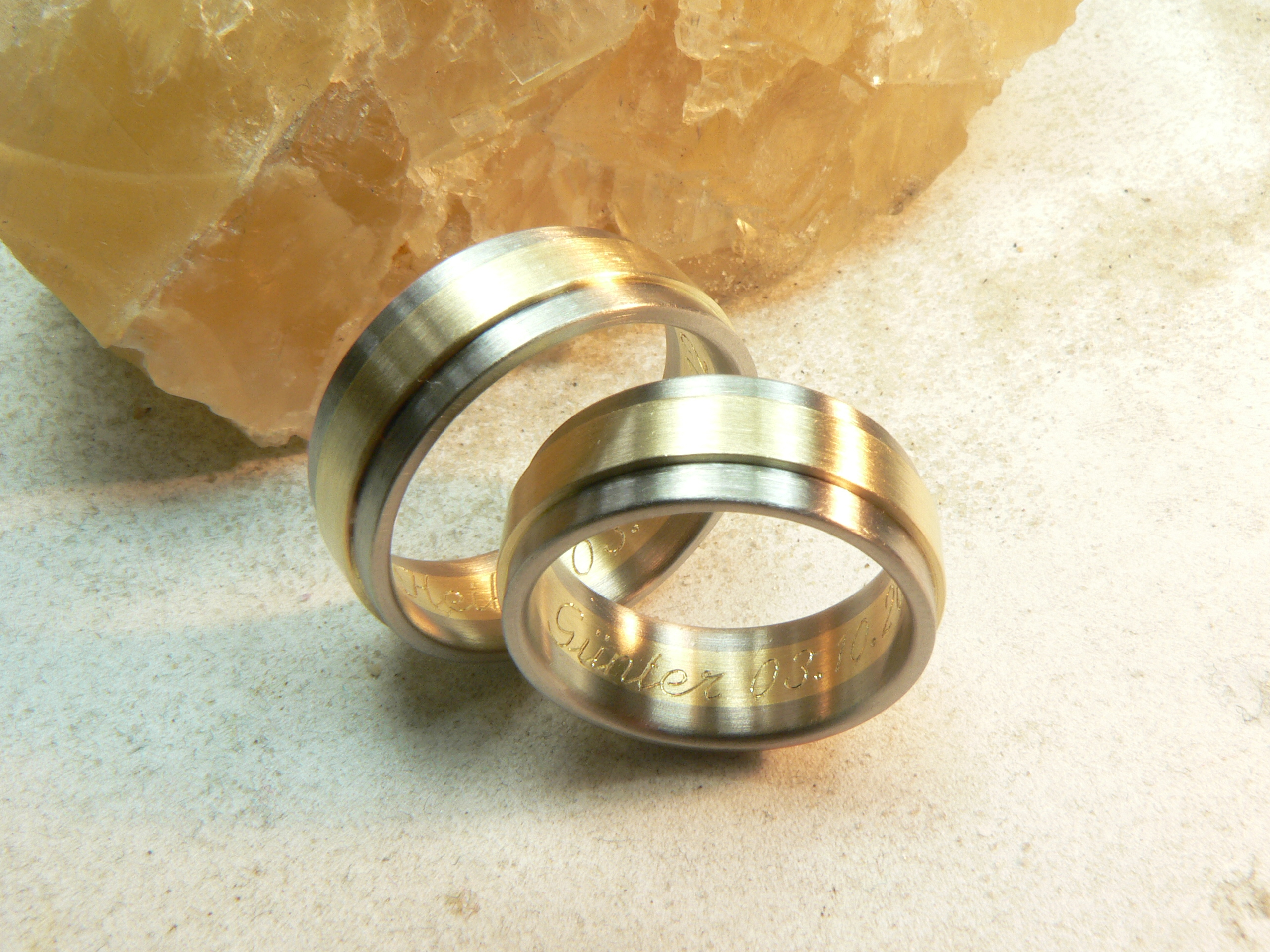 Trauringe Palladium - Gelbgold, 8mm